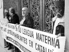 Manifestació contra la llengua catalana