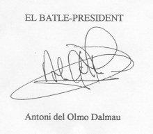 Signatura d'en Del Olmo al conveni del menjador.